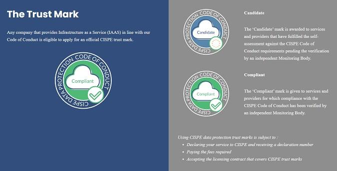 Nella scelta di un cloud provider, puoi verificare se espone il marchio CISPE per valutare preventivamente in modo rapido la sua adeguatezza come tuo fornitore.
